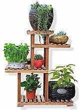 Massivholz-Blumen-Rack-Karbonisierung Pflanze Regale Vier-Schicht Bonsai Regal Indoor Balkon Wohnzimmer Blumentopf Blumenständer