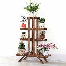 Massivholz Blumen Racks Karbonisierte Konservierungsmittel Holz Blumentöpfe Rack Balkon Multi - Tier Pflanze Stand