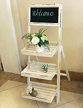 Massivholz Blumenregal White Hinweise Blackboard Blumenregal Indoor Drei-Layer-Leiter Blumenregal