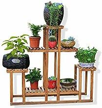 Massivholz Blumenregal Wohnzimmer mit Balkon Mehrschicht-Regal Holz Blumenregal