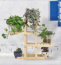 Massivholz Blumenregale grün Rettich Mehrstöckige Boden Blumenständer Bonsai Holz Blume Regal Balkon Wohnzimmer Innenraum ( Farbe : Holz Farbe , größe : 72*26*66cm )