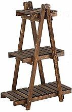 Massivholz-Blumenständer Balkon Drei Schicht-Vier-Schicht Bonsai Frame-Leiter Aus Holz Blume Racks ( größe : L*W*H: 62*29*91cm )