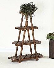 Massivholz-Blumenständer Balkon Drei Schicht-Vier-Schicht Bonsai Frame-Leiter Aus Holz Blume Racks ( größe : L*W*H: 85*29*128cm )