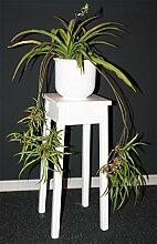 Massivholz Blumentisch 60cm Beistelltisch weiß