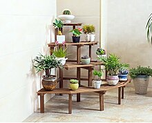 Massivholz Eck-Blumen-Rack, Multi-Fleisch Multi-Layer-Leiter Boden-Stil Grüne Rettich Balkon Töpfe Regal 70 × 60cm ( Farbe : #1 , größe : 80*80cm )
