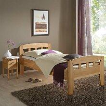 Massivholz Einzelbett mit Nachtkonsole Buche