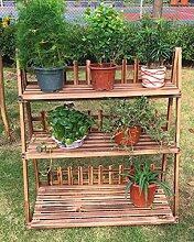 Massivholz Falten Multi-Fleisch Blumenrahmen Holz Karbonisierung Wohnzimmer mit Balkon Mehrschichtige Einfache Boden Leiter Blumenpot ( größe : Xl )