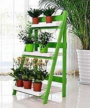 Massivholz Faltleiter 3 - Geschoß Boden Pflanze Stand Blumentopf Regal Für Balkon Wohnzimmer Indoor ( farbe : Grün )