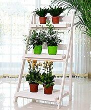 Massivholz Faltleiter 3 - Geschoß Boden Pflanze Stand Blumentopf Regal Für Balkon Wohnzimmer Indoor ( farbe : Weiß )