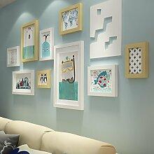 Massivholz foto Wand Dekoration Ideen Wohnzimmer Restaurant Bilderrahmen Bilderrahmen wand Combo amerikanischen WandDassGelb Weiß 2-farbig