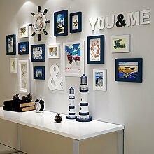 Massivholz foto Wand Dekoration Ideen Wohnzimmer Restaurant Bilderrahmen Bilderrahmen wand Combo amerikanischen WandDassDie blauen und weißen 2-farbig