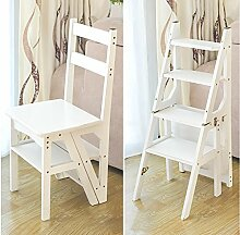 Massivholz Hause multifunktionale Klappleiter Hocker kreative Treppe Hocker Indoor Klettern Leiter vierstufigen Leiter Stuhl, 3 Farben ( Farbe : B )