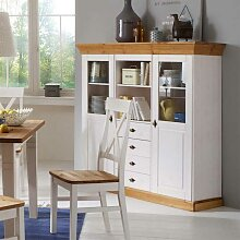 Massivholz Highboard aus Kiefer Landhausstil