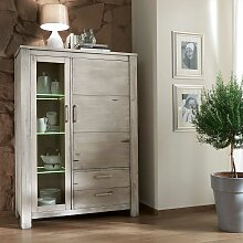 Massivholz Highboard in Hellgrau Fichte