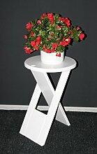 Massivholz Hocker Klapphocker Blumenhocker Nachttisch Beistelltisch weiß