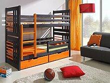 Massivholz Kiefer 190x80 graphit/buche Etagenbett 2 Liegeflächen inkl.2Matratzen Hochbett ROLAND NEU