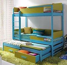 Massivholz Kiefer Etagenbett 3 Liegeflächen ink.3Matratzen 190x80 Kinderbett QUATRO NEU (blau/iguana)