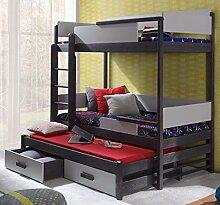 Massivholz Kiefer Etagenbett 3 Liegeflächen ink.3Matratzen 190x80 Kinderbett QUATRO NEU (graphit/grau)