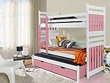 Massivholz Kiefer Etagenbett 3 Liegeflächen ink.Matratzen Kinderbett SAMBOR (Weiß / Rosa)