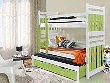 Massivholz Kiefer Etagenbett 3 Liegeflächen ink.Matratzen Kinderbett SAMBOR (Weiß / Grün)