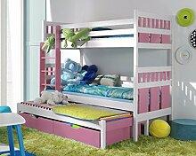 Massivholz Kiefer Etagenbett 3 Liegeflächen inkl.3Matratzen Hochbett 190x80 MAXIMILIAN (weiß/rosa)