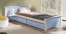 Massivholz Kiefer Kinderbett Einzelbett NEU inkl.Matratze Bett Jugendbett ALDO (90/200, weiß/blau)
