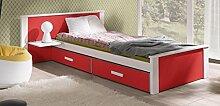 Massivholz Kiefer Kinderbett Einzelbett NEU inkl.Matratze Bett Jugendbett ALDO (90/200, weiß/rot)