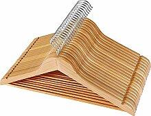 Massivholz-Kleiderbügel mit rutschfester Stange