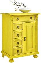Massivholz Kommode in Gelb Vintage Design