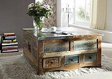 Massivholz lackiert massiv Möbel Couchtisch/Truhe 100x100 Altholz mehrfarbig Massivmöbel Möbel massiv Spirit #62