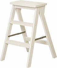 Massivholz Leiter Kreatives Home Multifunktionsgerät Klappleiter Treppenstuhl Indoor Kleine Leiter Holzfarbe Und Weiß ( Farbe : Weiß , größe : B )