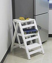 Massivholz Leiterstuhl Leiter Stuhl Home Kreativ Multifunktion Klappleiter Drinnen Leitern ( Farbe : 4# , größe : 42*55*66cm )