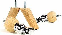 Massivholz Möbel Füße mit Chrom Rollen Set of