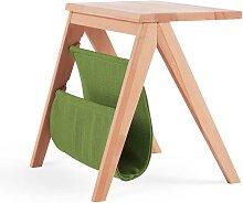 Massivholz Nachttisch aus Kernbuche Ablage in Grün Webstoff