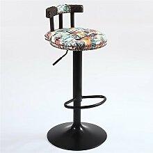 Massivholz Retro Sitz High Stool Bar Küche Frühstück Stuhl Kaffeegeschäft Dining Chair kann auf und ab / Drehstuhl Drucken