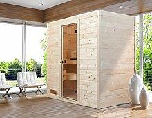 Massivholz Sauna 537 GT Gr. 3 mit Kompaktofen 8,0 KW , Silikonanschlußkabel und Sauna-Special-Leuchtense