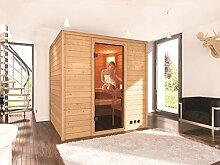 Massivholz Sauna Lieto 196cm x 170cm x 198cm inkl. Zubehörset 9kW Saunaofen