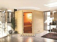 Massivholz Sauna Otava 196cm x 170cm x 198cm Eckmodell inkl. Zubehörset 9kW Saunaofen