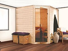 Massivholz Sauna Utti 196cm x 196cm x 200cm Eckmodell inkl. Zubehörset 9kW Saunaofen