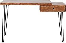 Massivholz Schminktisch aus Akazie Baumkante Metall