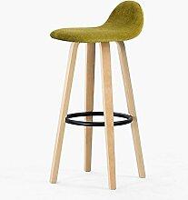 Massivholz Sitz Hochstuhl mit Rückenlehne Barhocker Heim Küche Frühstück Esszimmer Stühle Hocker Eisen Pedal (Grün)