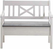Massivholz Sitzbank mit Stauraum Kiefer Weiß Grau