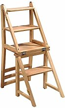 Massivholz Stuhl Leiter Trittleiter Treppe Kreativ Multifunktional Treppenstuhl Die Leiter Hinaufsteigen Klappstuhl ( Farbe : 3# )