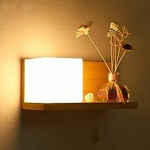 Massivholz Wandlampe E27 Mit Zugschnur Schalter