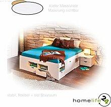 Massivholzbett 140x190cm durchdachtes Funktionsbett mit einer Komforthöhe von 47,5cm weiß lackiert, praktischem Ordnungssystem 4 Schubladen, 8 Regalfächer und 2 Unterbettkommoden