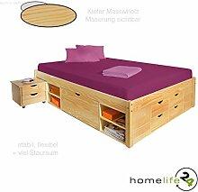 Massivholzbett 140x200cm durchdachtes Funktionsbett mit einer Komforthöhe von 47,5cm praktischem Ordnungssystem 4 Schubladen, 8 Regalfächer und 2 Unterbettkommoden