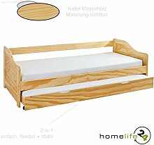 Massivholzbett 90x190 cm Kinderbett Bett Funktionsbett Kojenbett Ausziehbett oder Couch-Bett in natur mit ausziehbarer Bettkasten Kiefer massiv inkl. 2 x Lattenroste