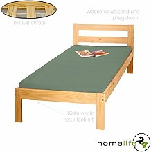Massivholzbett 90x200 cm Einzelbett Kinderbett Gästebett Bett massiv Natur lackiert inkl. 1 x Lattenroste