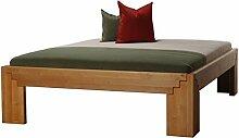 Massivholzbett BETA50 Erle metallfrei in Komforthöhe, Größe:100 x 200 cm;Holzart:Erle natur geöl