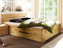 Massivholzbett Caspar 200x200 Wildeiche geölt Stauraumbett Doppelbett Ehebett Holzbett Bett Schlafzimmer